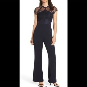 Harlyn Lace Illusion Top Jumpsuit Black XS